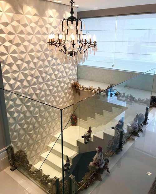 parede das escadas de uma casa com gesso em arte 3d