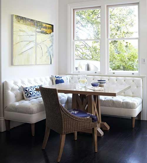 foto de sala de jantar com sofa decorada clean
