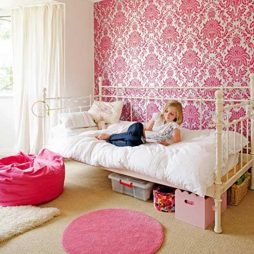 papel de parede rosa feminino arabesco