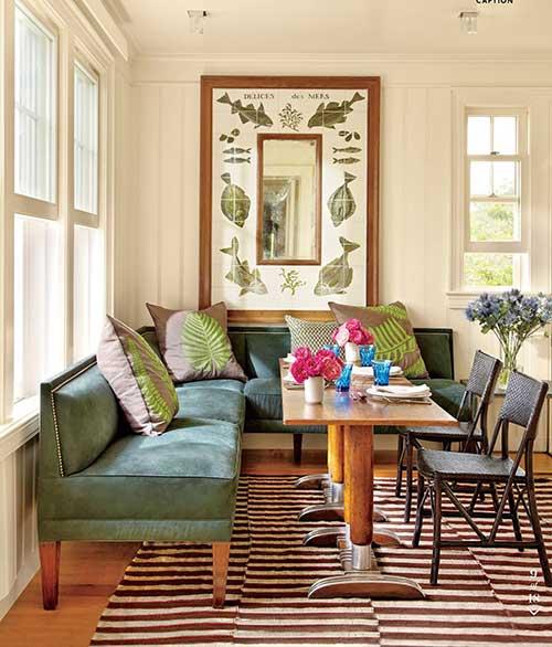 como decorar uma sala de jantar com sofá e cores