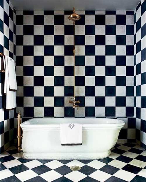 banheiro masculino com decoracao xadrez