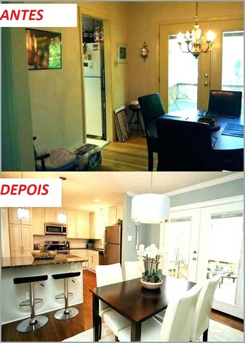 foto de reforma de apartamento integrando cozinha e sala