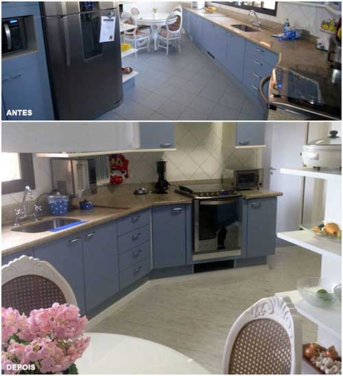 imagem com antes e depois de usar piso vinilico na reforma da cozinha