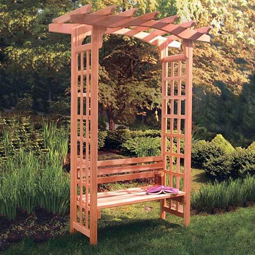 pergola em madeira com banco pra jardim - imagem retirada do pinterest