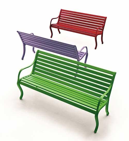 banco pra jardim de aluminio verde, roxo e vermelho
