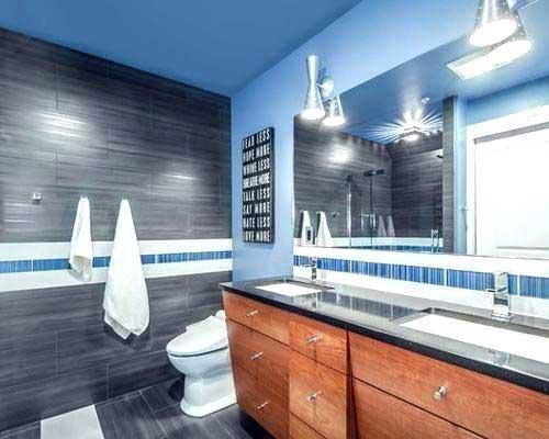 decoração de banheiro azul e cinza bonito