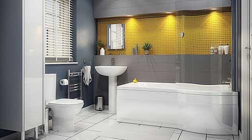 banheiro com pastilha de vidro amarela