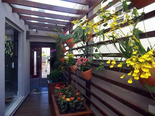 jardim suspenso com orquideas no corredor