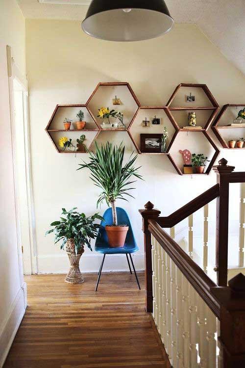 corredor ornamentado com vasinhos de planta