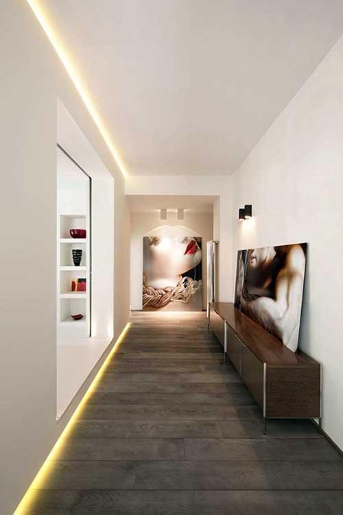 decoracao moderna com luzes led pra corredor