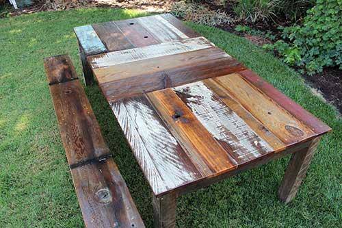 como fazer banco e mesa pra jardim com madeira de demoliçao