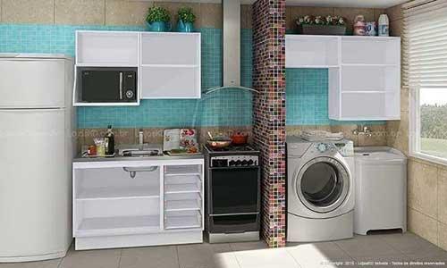 area de serviço pequena integrada a cozinha com nichos