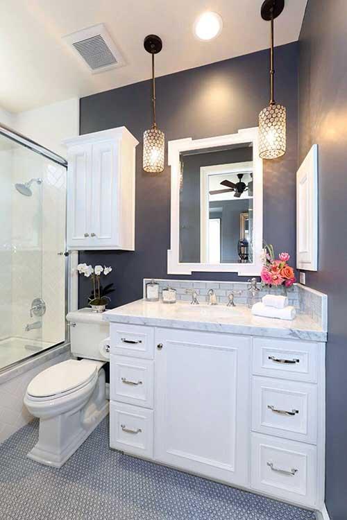 foto de banheiro pequeno pintado de cinza
