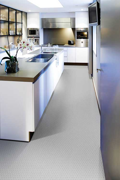 piso homogeneo para cozinha cinza
