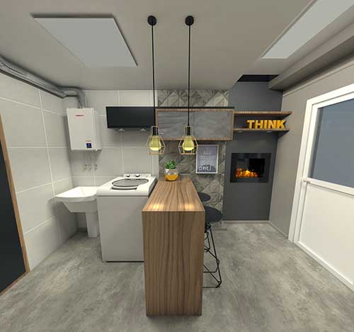 foto de area de serviço sofisticada integrada com churrasqueira