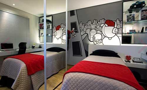 quarto masculino decorado com moveis planejados em apartamento pequeno