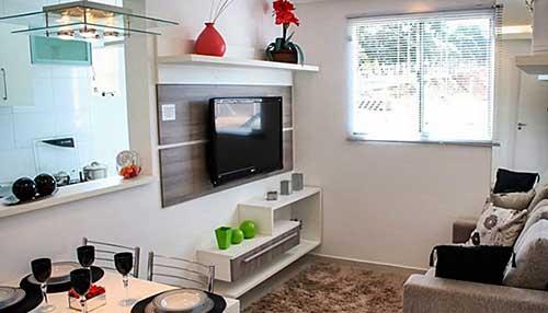 piso laminado para apartamento decorado pequeno