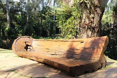 banco rustico construido com tronco de madeira