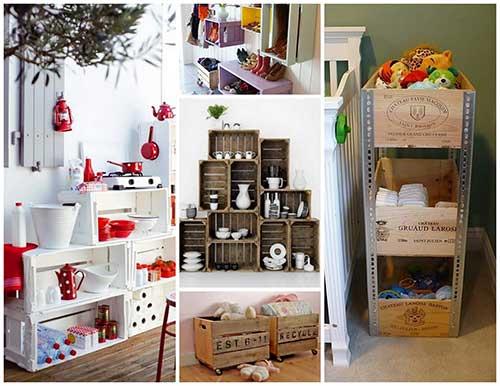 como fazer decoracao com caixas de madeira