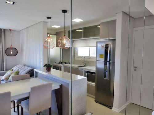 como decorar uma cozinha americana integrada a sala de forma minimalista