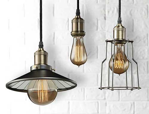 foto de luminaria industrial para sala de jantar antiga