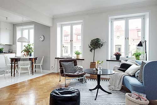 como usar pisos diferentes numa cozinha americana integrada com a sala