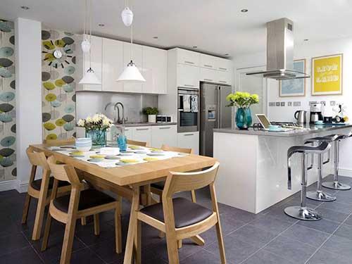 como usar papel de parede na decoracao da cozinha integrada com a sala