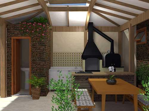 terraço decorado com churrasqueira e plantas
