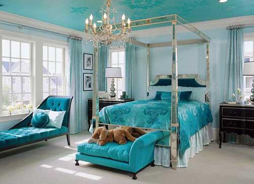 quarto azul elegante para casal abastado