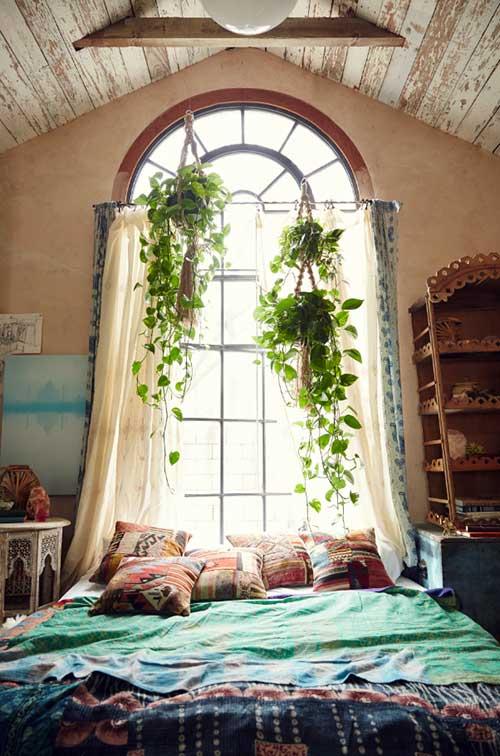 quarto rustico feng shui com plantas