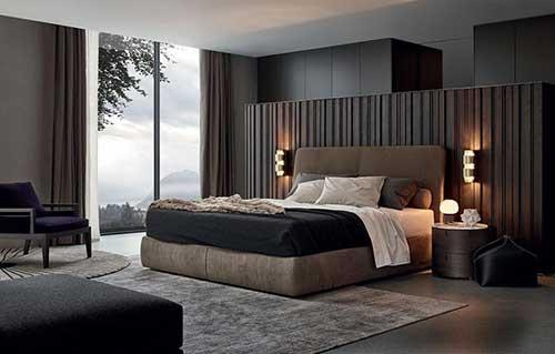 imagem de quarto masculino chique, elegante e aconchegante