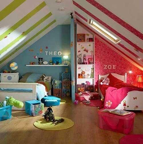 quarto para casal de gemeos azul e rosa