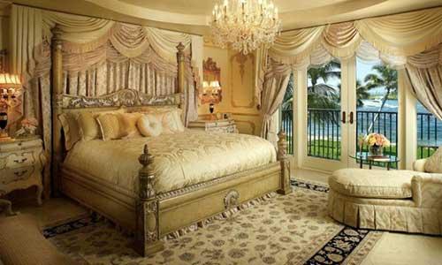 quarto dourado luxuoso para casal