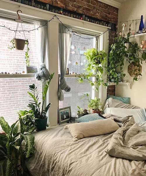 decoracao com plantas no quarto