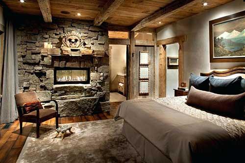quarto de casal luxuoso rustico