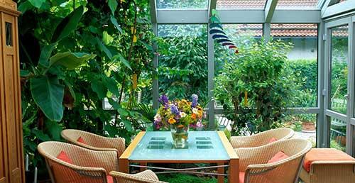 jardim de inverno no terraço fechado em vidro