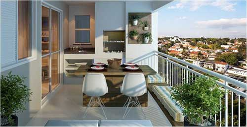 foto de terraço de cobertura de apartamento com churrasqueira