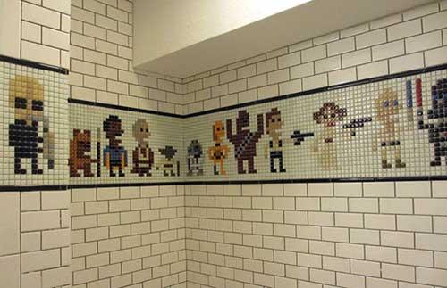 desenho do star wars feito com azulejos para banheiro