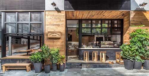 fachada de loja comercial de cafes