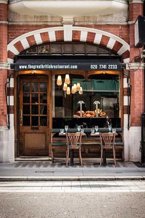 fachada de restaurante pequeno vintage