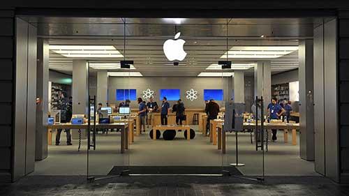 fachada de loja de vidro da apple