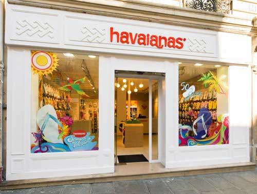 fachada de loja de chinelos havaianas