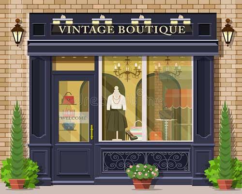 projeto de fachada pra boutique vintage