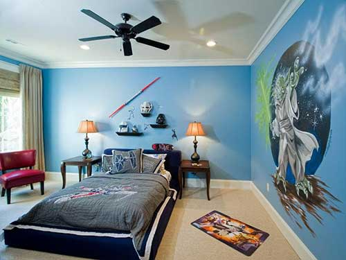 quarto star wars com pintura diy do yoda