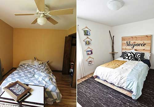 reforma de quarto antes e depois