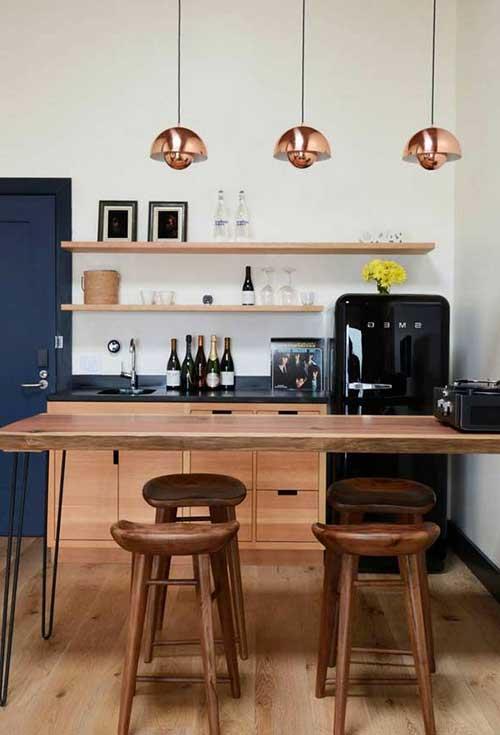 cozinha americana planejada com decoracao retro