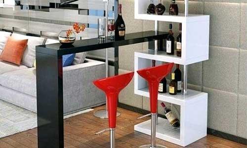 barzinho moderno preto, branco e vermelho