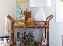 carrinho rustico de vime pra bar na sala