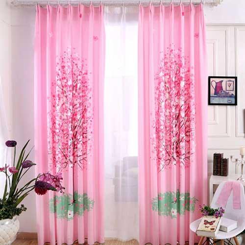 cortina rosa com blecaute para quarto de menina
