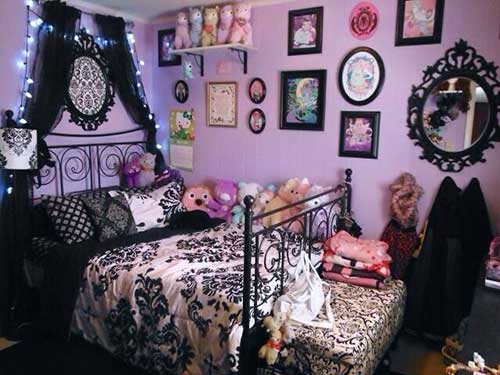 quarto preto e rosa gotico feminino